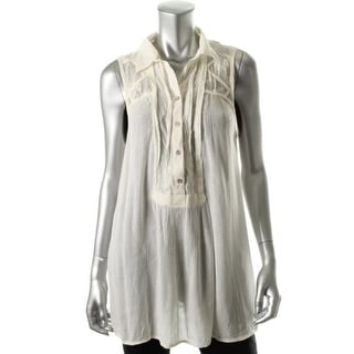 Free People Womens Crinkled Sleeveless Tunic Top - S