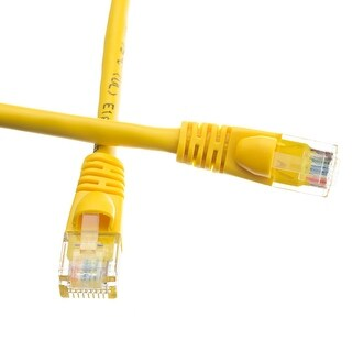 Offex Cat6a Yellow Ethernet Patch Cable, Snagless/Molded Boot, 500 MHz, 15 foot