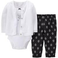 Carter's Baby Girls' Elephant 3 Piece Cardigan Pant Set - 3 Months