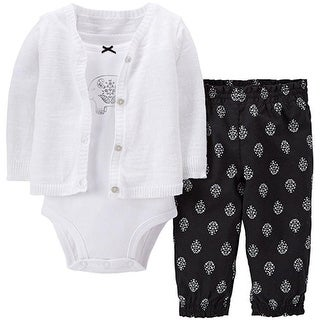 Carter's Baby Girls' Elephant 3 Piece Cardigan Pant Set - 3 Months