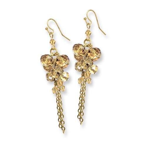Goldtone Yellow Crystal Dangle Leverback Earrings