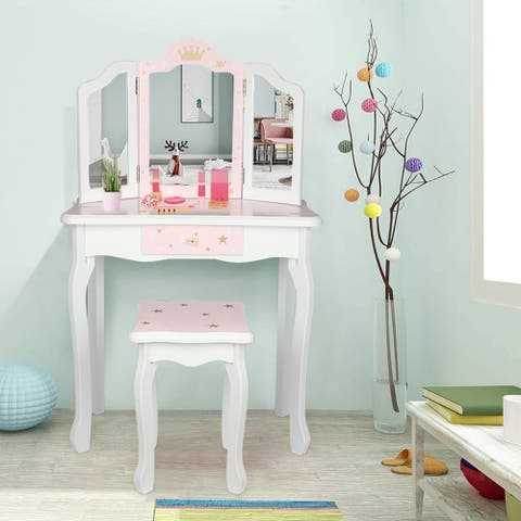 Children's Dressing Table Three Foldable Mirror/Chair/Single Drawer Pink Star Style