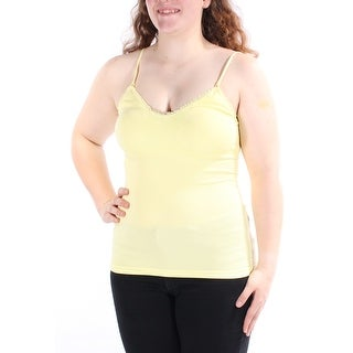 ENERGIE Womens New 1345 Yellow V Neck Sleeveless Textured Top Juniors XL B+B