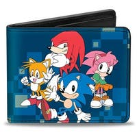Sonic Classic Sonic 4 Character Group Pose + Doctor Eggman Digital Camo Bi-Fold Wallet - One Size Fits most