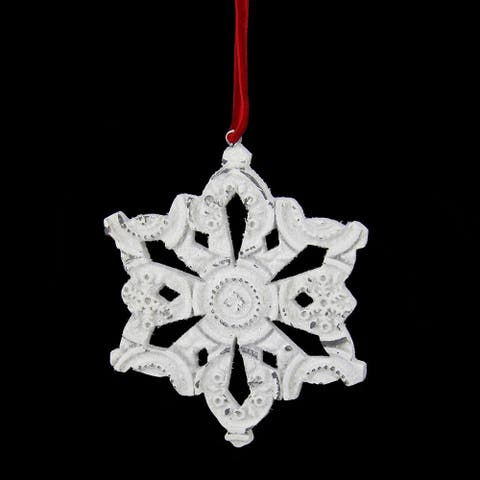 "3.25"" Distressed White Glittery Embossed Snowflake Christmas Ornament"
