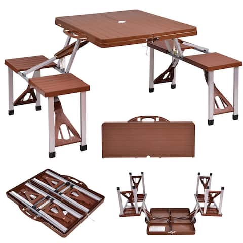 Costway Outdoor Foldable Portable Aluminum Plastic Picnic Table Camping w/ Bench 4 Seat - Brown