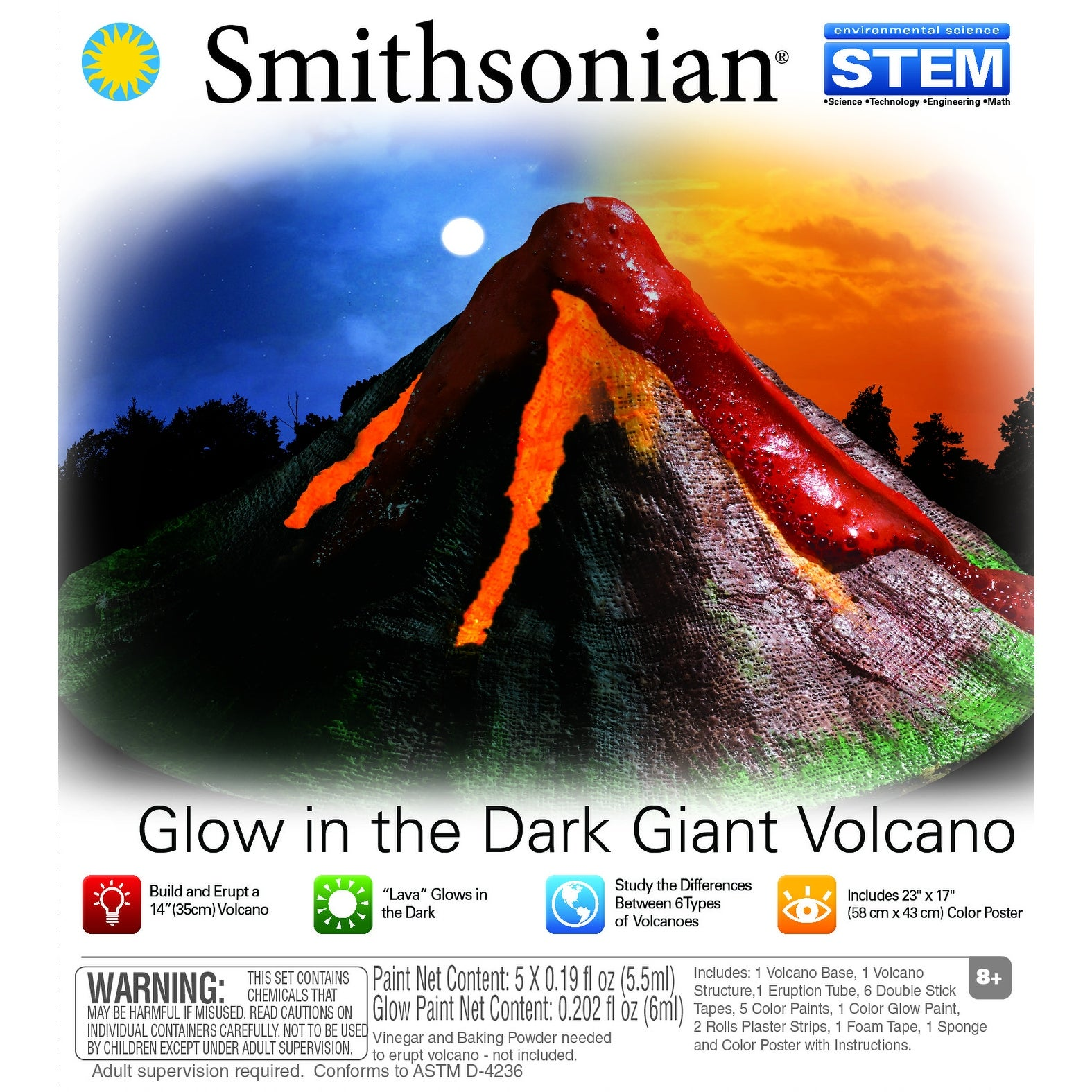 Smithsonian Giant Volcano Science Kit with Glow-in-the-Dark Lava