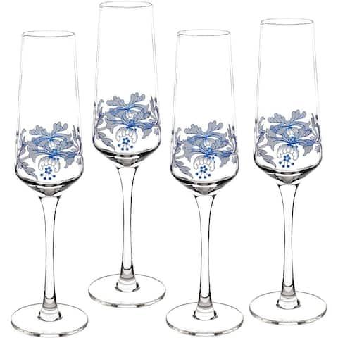 Spode Blue Italian Glassware Champagne Flutes, Set of 4