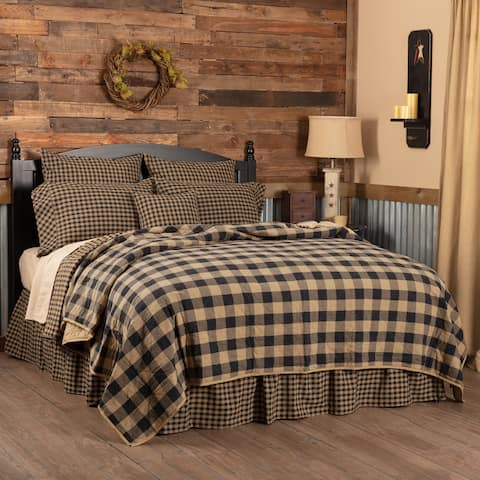 Primitive Bedding VHC Check Quilted Coverlet Cotton