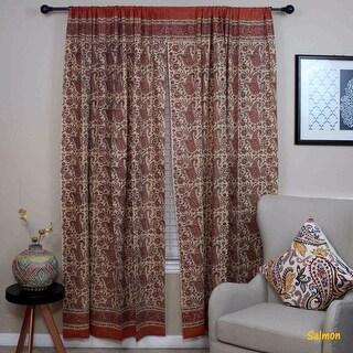 Handmade Cotton Rajasthan Paisley Floral Print Curtain Drape Panel Blue Peach - 47 x 85 inches