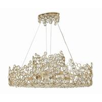 """Fredrick Ramond FR44818 Anya 10-Light 40"""" Wide Linear Chandelierwith Crystal Accents - silver leaf - n/a"""
