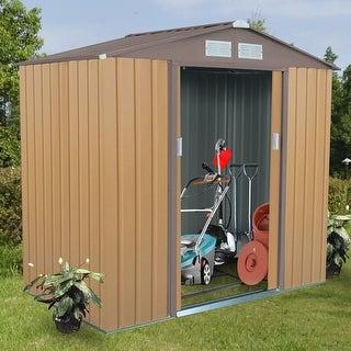 Shop Costway 7u0027 X 4u0027 Outdoor Garden Storage Shed Tool House Sliding Door  Steel Khaki   Khaki + Brown   Free Shipping Today   Overstock.com   18797933