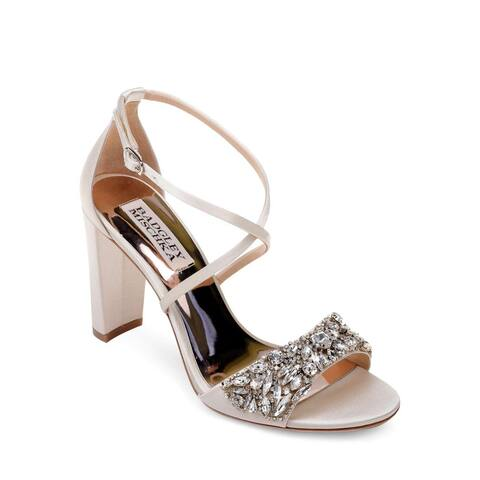 BADGLEY MISCHKA Womens Harper Leather Open Toe Ankle Strap Classic Pumps