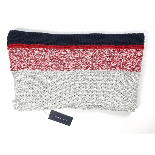 Shop Tommy Hilfiger Cable Knit Striped Winter Scarf Multicolor