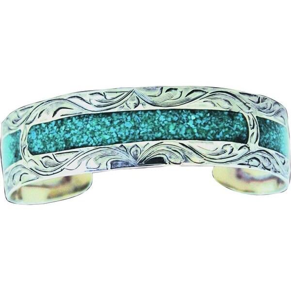 Bar V Western Womens Bracelet Hand Engraved Inlaid Cuff Silver 314-223