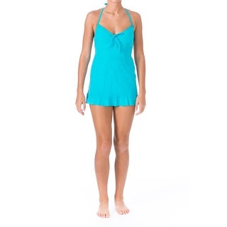 Mainstream Womens Marbled Halter Swimdress - 14