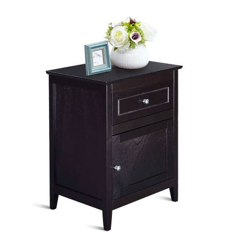 Wooden End Table with Drawer and Cabinet Bedside Sofa Table