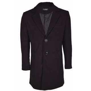 Men's Black Wool Blend Tailored VERY SLIM FIT Top Coat Jacket