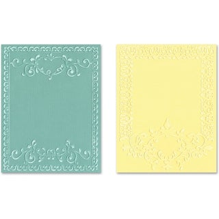 Sizzix Textured Impressions A2 Embossing Folders 2/Pkg-Ornate Frames - Red