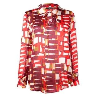 Vince Camuto Women's Printed Self Neck Tie Long Sleeve Top (S, Wine) - S