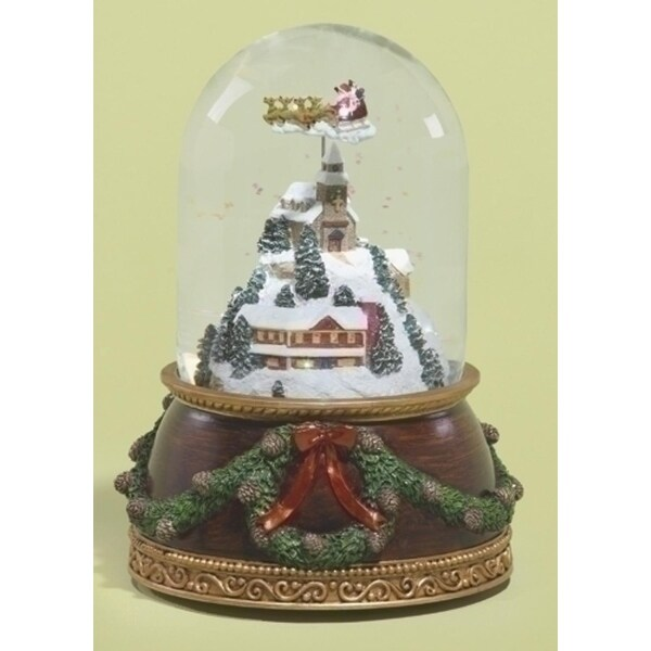 """Set of 2 Musical Santa Claus Flying Over Town Rotating Christmas Glitterdome 7.5"""""""