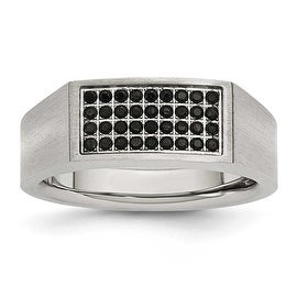 Chisel Stainless Steel Polished and Brushed Black CZ Ring