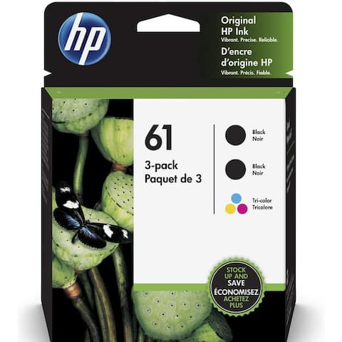 HP 61 Black/Color Ink Cartridge Combo 3-Pack, 1VW07AN, CH561WN, CH562WN - black black and color