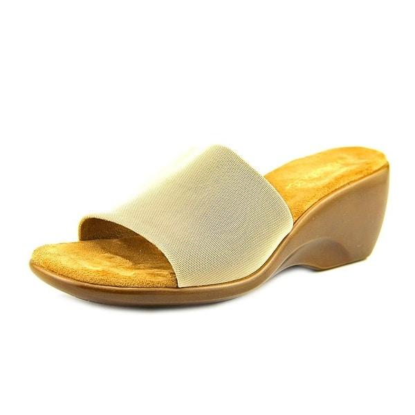 Aerosoles On Stage Women Open Toe Canvas Tan Slides Sandal