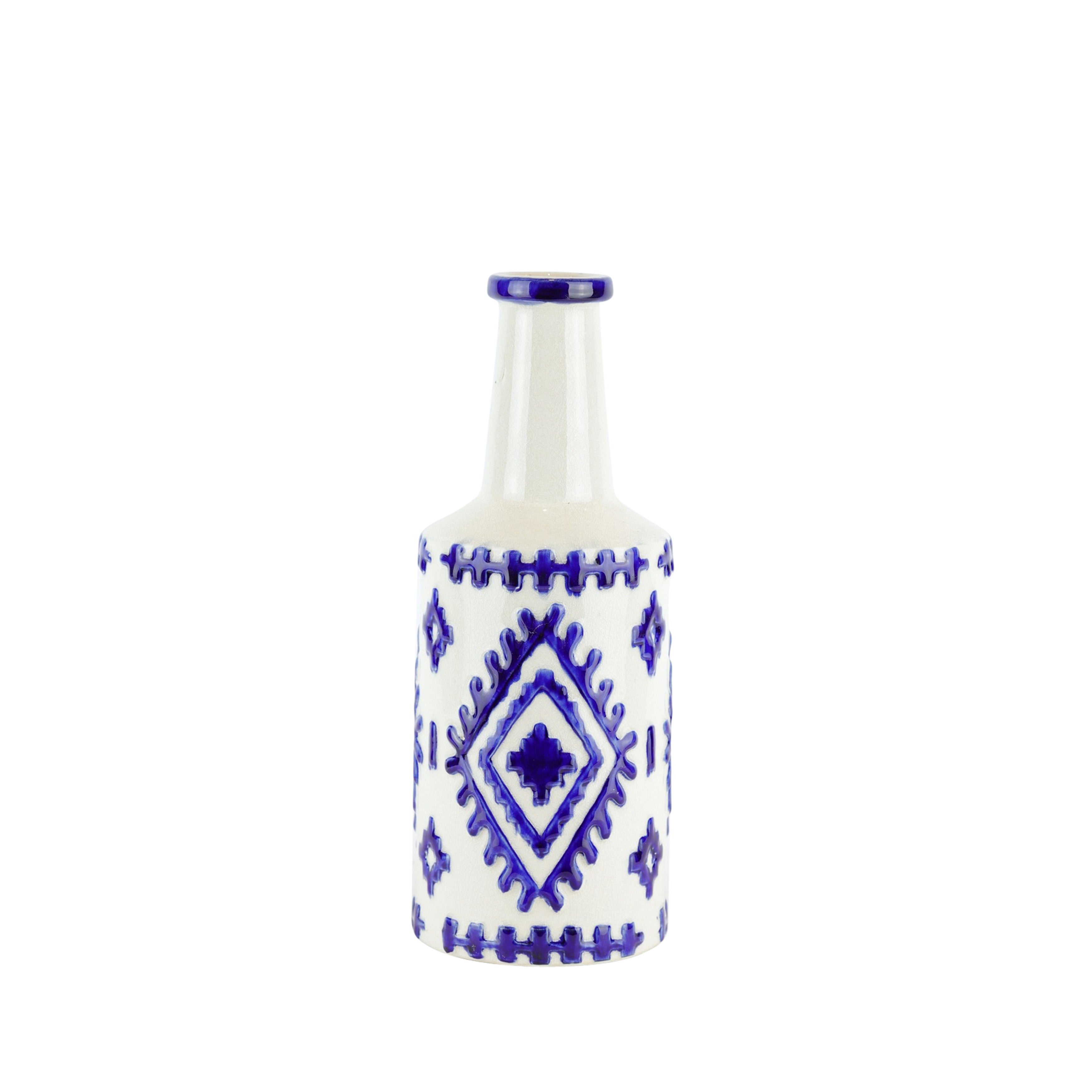 Bottle Shape Decorative Ceramic Vase with Tribal Design, Small, White and Blue