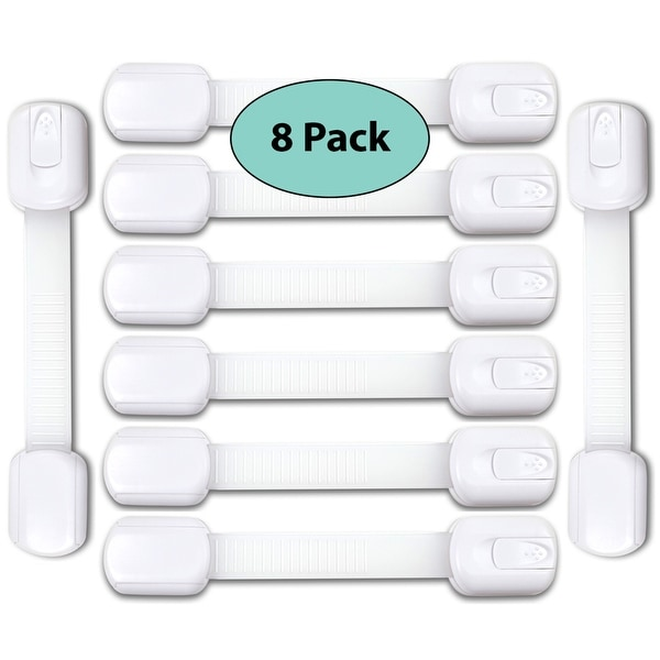 EliteBaby Adjustable 3M Child Safety Locks, 8 Pack, White - Latches to Babyproof Cabinets, Appliances, and More - No Drilling