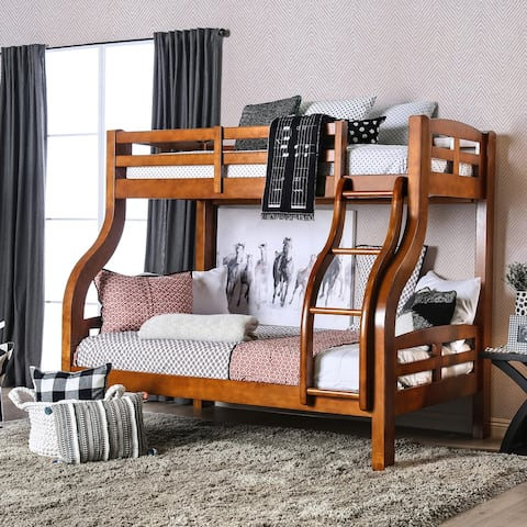 Furniture of America Biff Transitional Twin/Full Solid Wood Bunk Bed