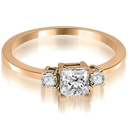 0.60 cttw. 14K Rose Gold Princess Cut Diamond Engagement Ring