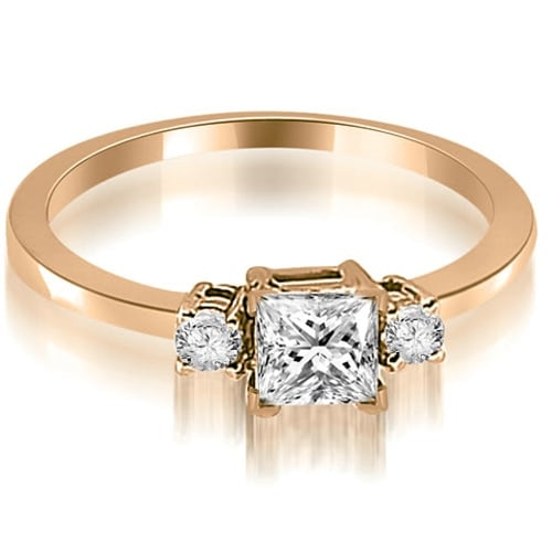 1.10 cttw. 14K Rose Gold Princess Cut Diamond Engagement Ring