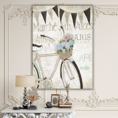 Designart 'French Bicycle Flea Market I' French Country Canvas Artwork Print