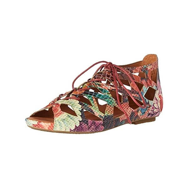 Gentle Souls by Kenneth Cole Womens Brielle Flat Sandals Floral Print Open Toe
