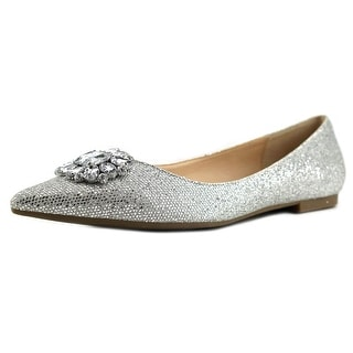 Nina Kouture Women Pointed Toe Synthetic Silver Flats