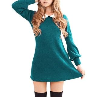 Woman Doll Collar Long Sleeve Turquoise Knitting Mini Dress L
