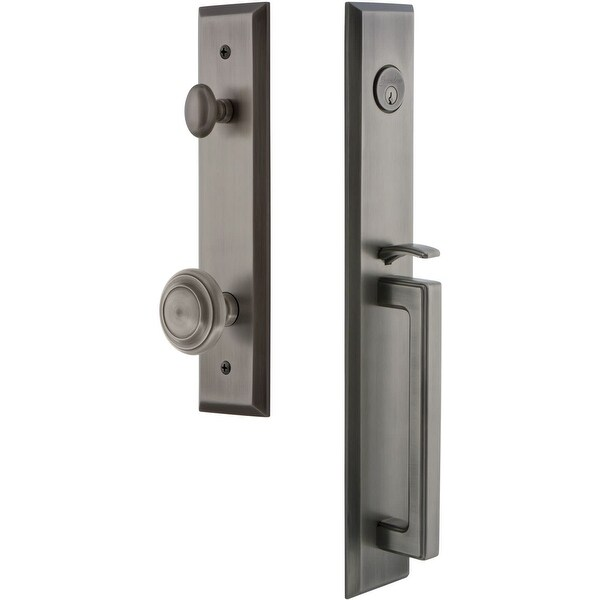 """Grandeur FAVDGRCIR_ESET_238 Fifth Avenue Solid Brass Rose Keyed Entry Single Cylinder """"D"""" Grip Handleset with Circulaire Knob"""