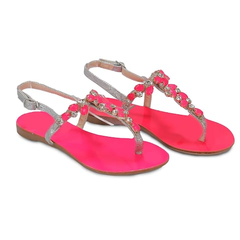 Ventutto Rio Pinky Crystal Cluster T-Strap Sandal