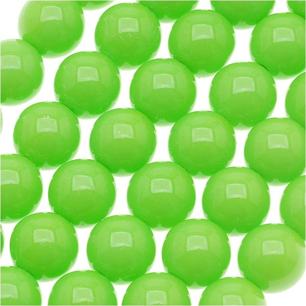 Czech Glass Round Party Beads 6mm - Neon Green (1 Strand / 29 Beads)