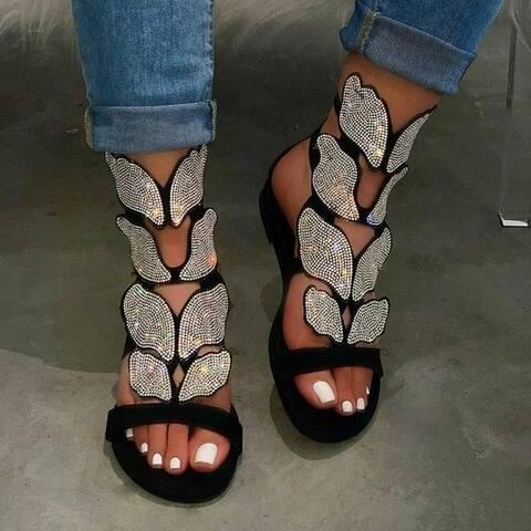 Buckle Open Toe Rhinestone Elastic Band Sandals