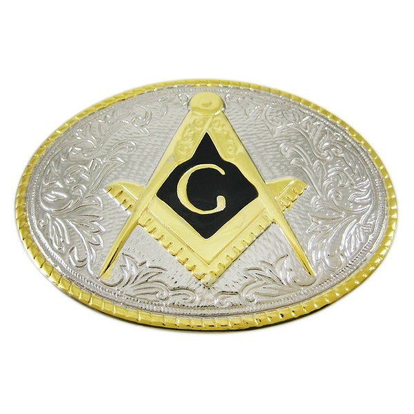 Chrome Enamel Freemason Symbol Belt Buckle Masonic