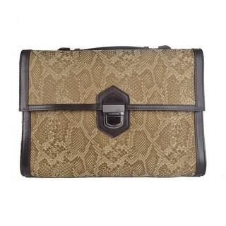 Roberto Cavalli Brown Leather Snake Embossed Briefcase Bag