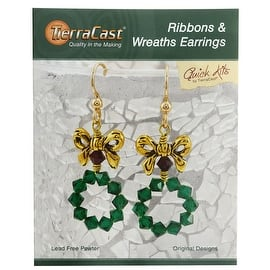TierraCast Kit, Holiday Ribbons & Wreaths Earrings 2 Inches, 1 Kit, Gold, Green, Siam|https://ak1.ostkcdn.com/images/products/is/images/direct/2fb9868087e2a95b29ff75f297a8aaeccf4a5199/TierraCast-Kit%2C-Holiday-Ribbons-%26-Wreaths-Earrings-2-Inches%2C-1-Kit%2C-Gold%2C-Green%2C-Siam.jpg?impolicy=medium