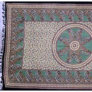 Handmade Cotton Paisley Mandala Tapestry Tablecloth Spread Full Green with Fringes