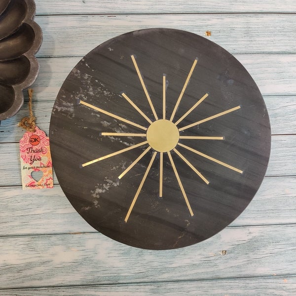 "GAURI KOHLI Rising Sun Black Stone Lazy Suzan (12"") - 12.0"" X 12.0"". Opens flyout."