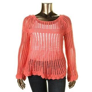 Heart N Crush Womens Crochet Crewneck Crewneck Sweater