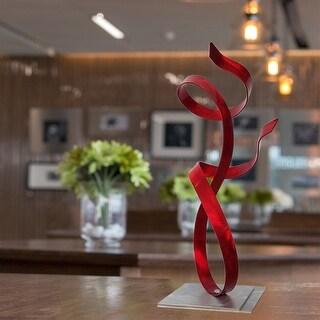 "Red ""Allure"" Abstract Metal Art Centerpiece, Tabletop Statue, Accent Sculpture by Jon Allen Metal Art"