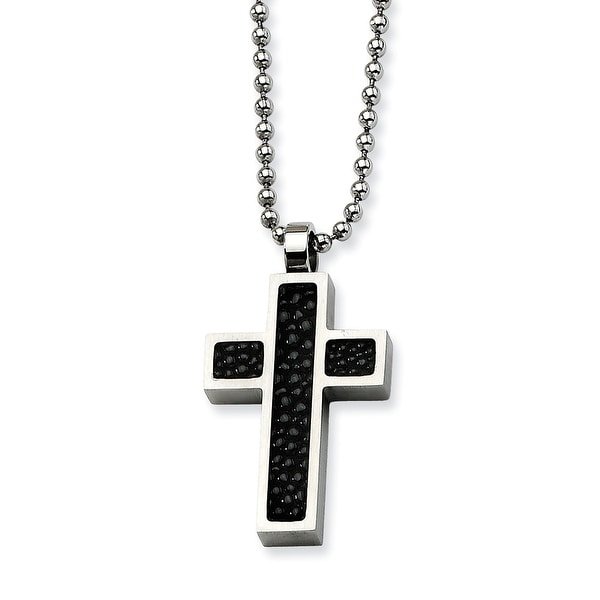 Chisel Stainless Steel Black Stingray Cross Pendant 24 Inch Necklace (1 mm) - 24 in