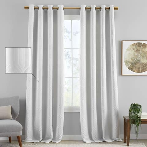 Sunveil Huxley Geometric Embroidered Texture Blackout Window Curtain Panel